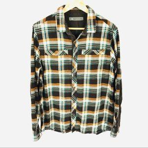 REI plaid button down flannel hiking camping shirt